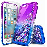 iPhone 6S Plus Case, iPhone 6 Plus Case with Tempered Glass Screen Protector for Girls Women, NageBee Glitter Liquid Sparkle Bling Floating Waterfall Shockproof Durable Cute Case -Purple/Blue