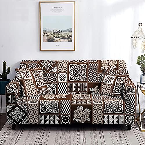 AHKGGM Funda Sofa Elástica 3 Plazas Figura geométrica marrón 190-230 cm