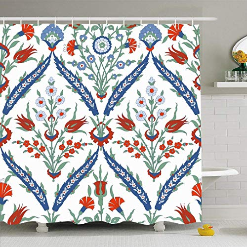 N\A Duschvorhang Set mit Haken Traditionelle grau-Blaue Keramikverzierung Blumen Istanbul Zierrot Rot Vintage Dekoration Texturen Wasserdichtes Polyestergewebe Bad Dekor für Badezimmer