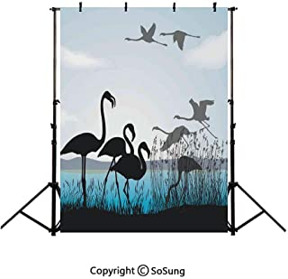 6x9Ft Vinyl Flamingo Backdrop for Photography,Flamingo Silhouettes Walking Flying Waterfront and The River Reed Bed Background Newborn Baby Photoshoot Portrait Studio Props Birthday Party Banner
