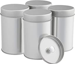 Tea Tins Canister Set with Airtight Double Lids for Loose Tea - Small Kitchen Canisters for Tea Coffee Sugar Storage, Loose Leaf Tea Tin Containers by SilverOnyx - Tea Canisters - 4 pc