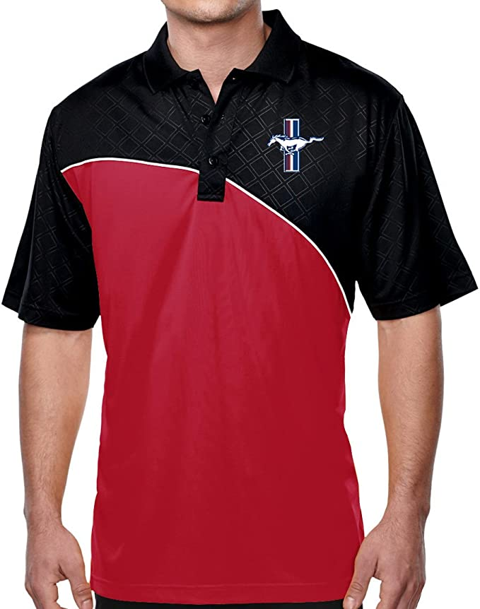 Buy Cool Shirts Mens Ford Mustang GT Fine-Stripe Polo Shirt
