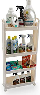 YOUSEFUL Slim 4 Tier Cart Organizer for Garden, Kitchen, Laundry, Bathroom. Narrow Storage Rack Tower with wheels, Mobile ...