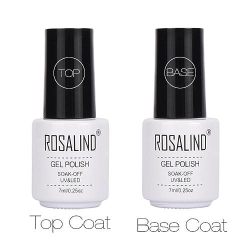 Mingfa.y Soak-off 7 ml Top and Base Coat Gel UV LED Nail Varnish (White) Set of 2