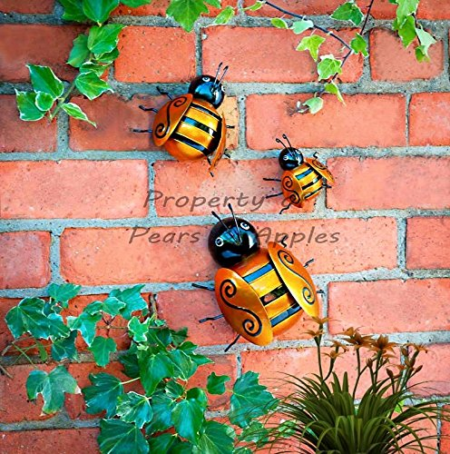 Apples to Pears 3X Metal Decorative Wall Art Garden Ornament Hanging Ladybug And Bumble Bee (Bumble Bees)