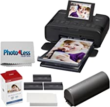 Canon SELPHY CP1300 Compact Photo Printer (Black) + Canon KP-108IN Color Ink and Paper Set + Replacement Battery + Photo4L...