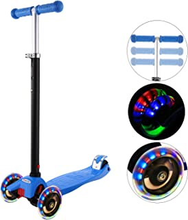 Hikole Kick Scooter for Kids 3 Wheels with PU LED Light, 4 Adjustable Height, Lean to Steer Design, Foldable Scooter for Toddlers Girls & Boys from 3 to 12 Years Old