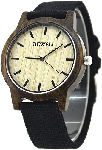 Bewell Student Wood Watch with Canvas Band Lightweight Men's Quartz Wrist Watch Graduation Gift