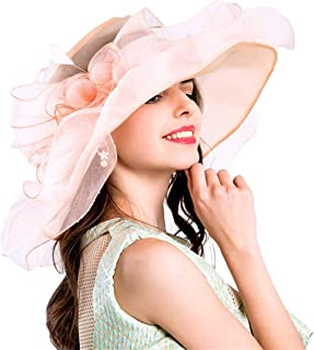 Women Foldable Organza Church Derby Hat Ruffles Wide Brim Summer Bridal Cap for Wedding Tea Party Beach (Peach-Pink)