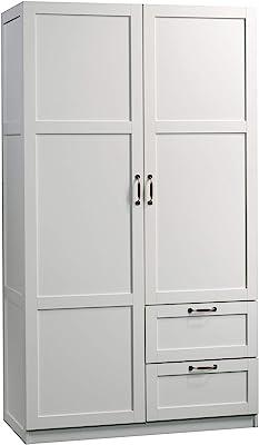 "Sauder 420495 Storage Cabinet, L: 40.00"" x W: 19.45"" x H: 71.10"",  White finish"