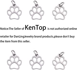 DanLingJewelry 304 Stainless Steel Dog Paw Print Charm Doggy Cat Animal Footprint Pendant for DIY Crafting Bracelet Necklace Jewelry Findings(Stainless Steel Color-10pcs,13 x 12 x 1mm Hole: 4mm)