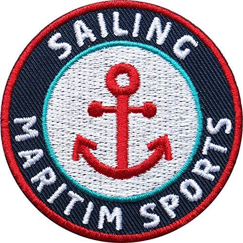 2 x Maritim Abzeichen 55 mm gestickt / Segeln Sailing Wasser-Sport / für Segler Kapitäne Wassersportler / hochwertige Aufnäher Aufbügler Sticker Flicken Bügelbild Patch für Kleidung Tasche Rucksack