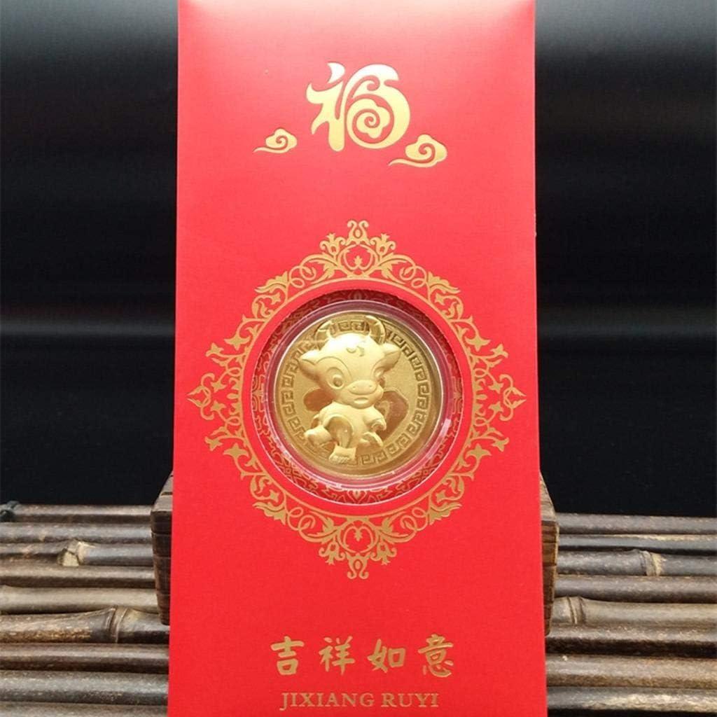 Peerless Lot de 6 pi/èces de monnaie comm/émoratives de lann/ée de b/œuf avec enveloppes rouges Hong Bao Cadeau souvenir du Nouvel An 2021