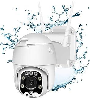 Cámara PTZ Exterior WiFi Cámara de Vigilancia IP66 Impermeable Seguridad Inalámbrica Cámara HD 1080P Detección de Movimiento Audio Bidireccional IR Vision Nocturna