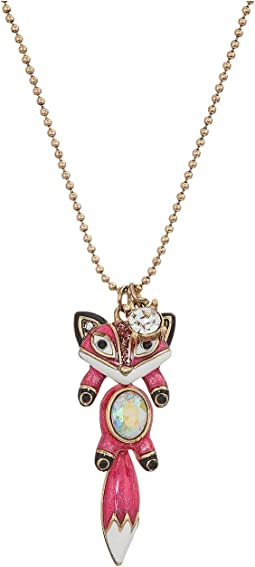 Betsey Johnson - Pink and Gold Fox Pendant Necklace