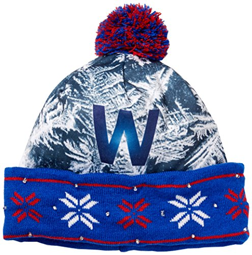 """Forever Collectibles Unisex's MLB Chicago Cubs World Series W Light Up Knit Hat, Blue, 9"""""""