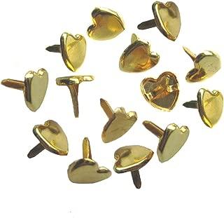 Bestartstore 9mm 3/8 200pcs Golden Tone Metal Heart-shaped Brad Paper Fastener Scrapbooking Card Making Art Craft Brads
