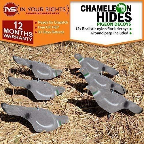 Chameleon Hides 12 X Beflockt Tauben Lockvogel / Fütterung Tauben Hülle Lockvogel mit / Jagd Köder