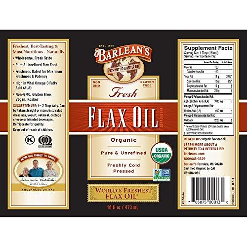 Product Image 2: Barlean's Fresh Flax Oil with 7,640mg ALA Omega-3 Fatty Acids for Improving Heart Health – USDA Organic, Non-GMO, Gluten Free – 16-Ounce
