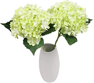 SHACOS Artificial Silk Hydrangea Flowers Set of 2 Large Bloom Hydrangea Stems 21 inch Long for Home Wedding Party Decor (2...