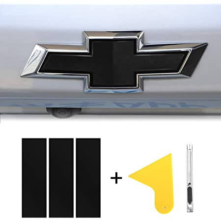 //// BLACK Vinyl Sheets Wrap Chevy Universal Bowtie Emblem Overlay Decal