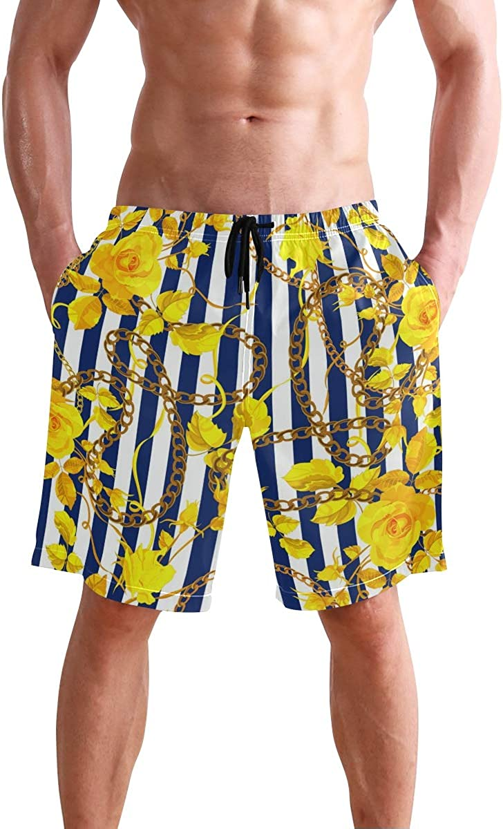 Mens Swim Trunks Yellow Flower Golden Chain Blue White Stripes Beach Board Shorts
