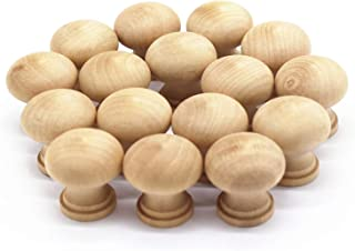 WEICHUAN 16PCS Round Unfinished Wood Cabinet Furniture Drawer Knobs Pulls Handles (Diameter: 3.7cm Height: 3.7cm)