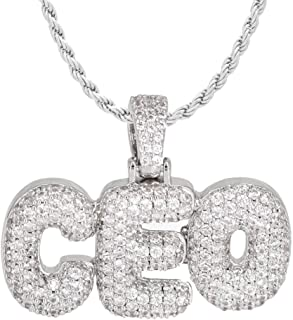 TRIPOD JEWELRY Hip Hop Micropave Simulated Lab Diamond Iced Out Bling Custom CEO Bubble Letters Dripping Initial Bubble Letter Pendant with Rope Chain Necklace