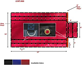 16' x 27' Flatbed Tarps Heavy Duty 18oz Steel Tarp with Flap - Red