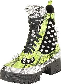 Cambridge Select Women's Colorblock Spike Stud Lace-Up Lug Sole Chunky Platform Low Block Heel Combat Boot