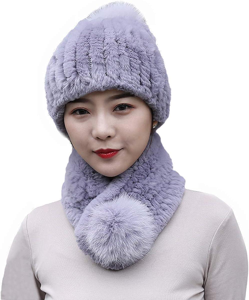 XUYUZUAU 2PCs Women's Genuine Rex Hat+Scarf Fur 休み Elast スピード対応 全国送料無料 Set Rabbit
