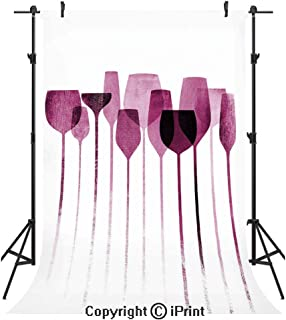 Wine Photography Backdrops,Conceptual Collage Artwork with Paper Textured Party Glasses Alcohol Drink Print Decorative,Birthday Party Seamless Photo Studio Booth Background Banner 5x7ft,Fuchsia Purple