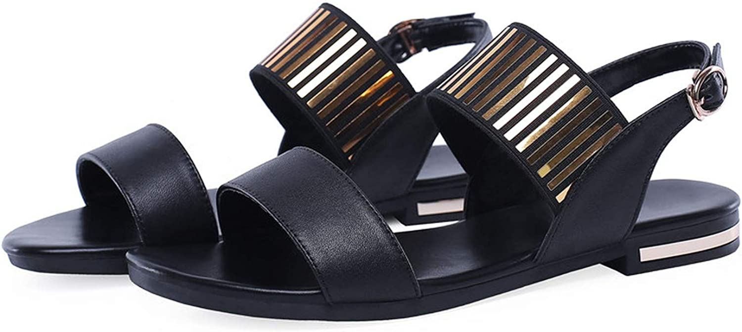34-46 Summer shoes Woman Buckle Sandals Women Casual Genuine Leather shoes Women