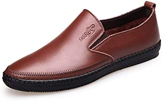 HaiNing Zheng Driving Loafers for Men Gommino Slip On Elastic Bands Synthetic Leather Experienced Stitched Anti Slip with Texture PU Lined Flat (Color : Brown, Size : 8 UK)