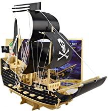 3D Wooden Jigsaw Puzzle Pirate Ship Black, Wood DIY Sailing Ships Building Block, Kids Educational Puzzle Toy Brain Teasers Hand Craft Kits