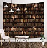 DYNH Vintage Library Tapestry, Old Books on Shelf Student Study Decor, Wall Tapestries Hanging Home for Bedroom Living Room Dorm TV Backdrop, Beach Blanket, 71X60 Inches