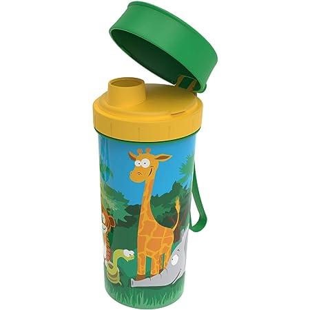 """Rotho Memory Kids Bouteille de 0,4 l avec couvercle, plastique de qualité alimentaire (PP) sans BPA, vertavecmotif""""jungle, 0.4l (7.6 x 7.0 x 16.5 cm)"""
