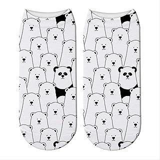 3 Pares Cute Panda 3D Impreso Short Calcetines De Algodón Mujeres Animal Panda Bear Calcetines Primavera Verano Kawaii Funny Tobillo Calcetines Unisex