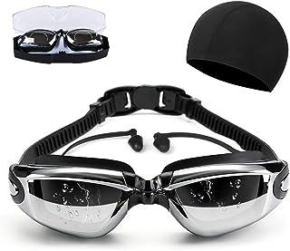 スイミングゴーグル 曇り止め 防水 3D人間工学設計 UVカット ベルト調節可 水着 スイムゴーグル 耳栓 付き 男女兼用…