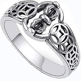 925 Sterling Silver Ring, Women Men Buddhist Religious Silver Hollow Vajra Ring Birthday Gift