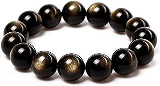 Tibetan 28 Mala Bead Gold Obsidian Buddhist Buddha Prayer Beads Bracelet,Stretch String,Unisex