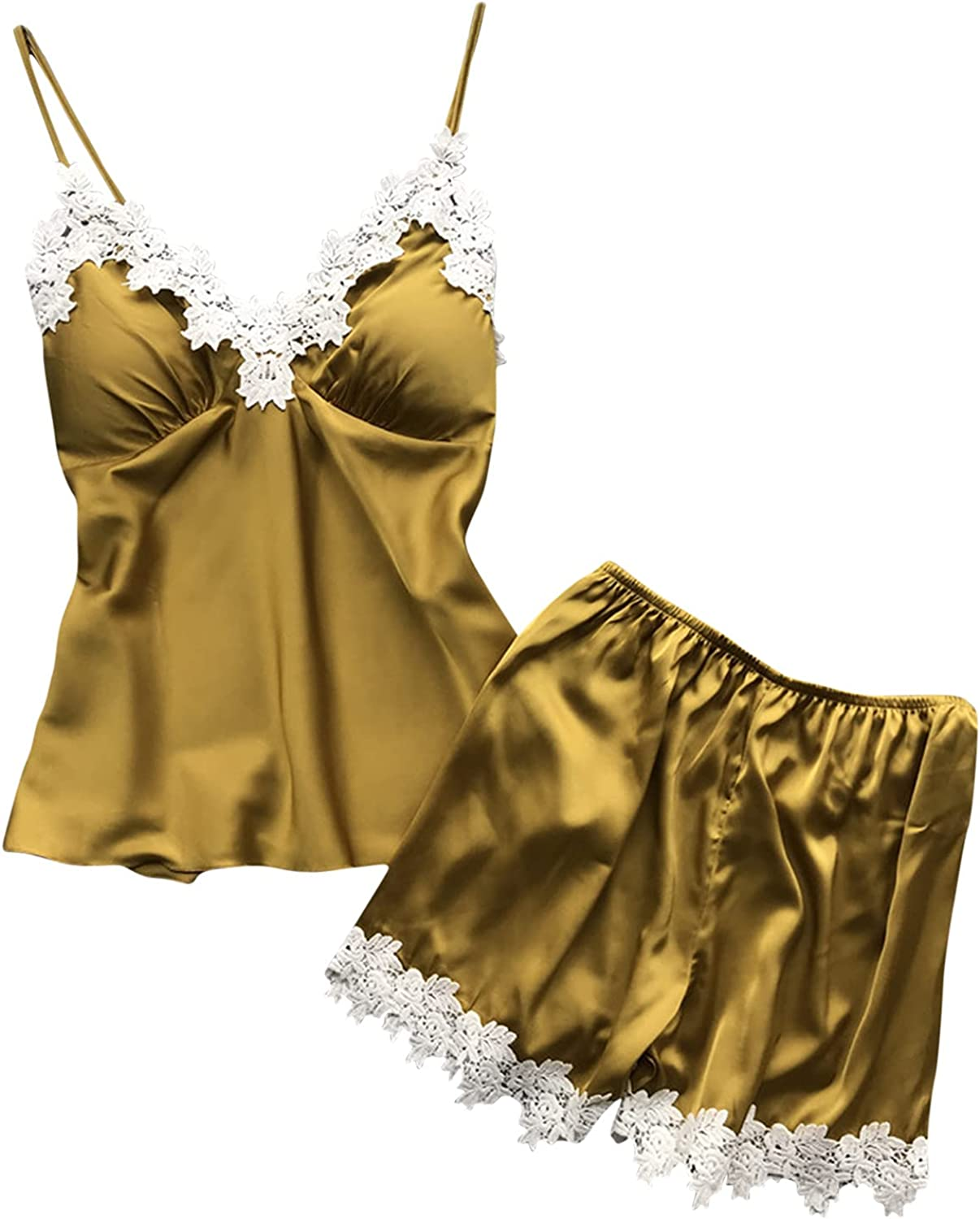 Women's Sleepwear Sexy Satin Pajamas Fashion Lace Splice Cami Tops Comfy Shorts Set Babydoll Chest Pad Lingerie Suits