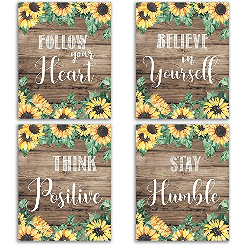 """Follow your Heart, Inspirational Sunflower Decor, Rustic Vintage Farmhouse Country Boho Wood Grain Inspirational Quotes Sayings Wall Art for Kitchen Dining Room Decor Modern Signs Pictures Posters Prints Decorations Floral Flower Butterfly Unframed 8""""x10"""""""