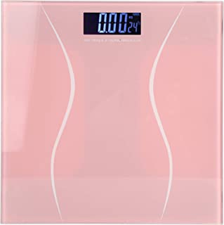 Raguso 180kg/400lb Báscula de Peso Corporal Digital Retroiluminación LCD electrónica Báscula de Fitness Suministros para el hogar(Rosado)