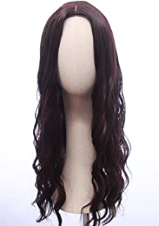 Cosplaywigscom: Scarlet Witch Wig Inspired of avengers age of Ultron Long Brown Red Ombre Natural Curly Central Parting Cosplay Hair for Adults and Teens