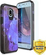 TJS Case for Samsung Galaxy J3 2018/J3 V 2018/J337/Express Prime 3/J3 Star/J3 Orbit/J3 Achieve/J3 Prime 2/Amp Prime 3/Sol 3, with [Tempered Glass Screen Protector] Hybrid Shockproof (Stardust)