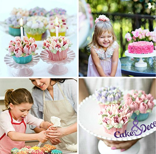 Cake&Deco Russian Piping Tips Set - 30pcs Cake Decorating Baking Supplies Kit with storage Gift Box - 14 Premium Russian Tulip Icing Piping Nozzles - Flower shaped frosting nozzles kit Training eBook