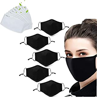 5 Pack Unisex Fashion Stretch Lightweight Cotton Covering Face and Mouth Reusable Washable Adjustable 3 Ply With 10PC Replacement Filters (5M+10F)