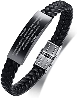 XUANPAI Personalized Black Stainless Steel ID Message Braided Leather Bracelets Jewelry for him,Custom Men Bracelet