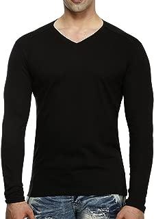 tees collection Men's V-Neck Full Sleeve Black Colour Cotton T-Shirt